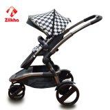 Carro de bebê preto e branco do estilo com frame e dois em um