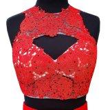 Schwarzer roter Spitze-Partei-Abschlussball bekleidet Sleeveless Backless Brautjunfer-Abend-Kleid E2017