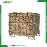 Jaula plegable de la paleta del acoplamiento de alambre para el almacenaje