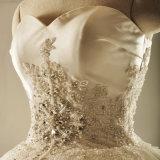 Trägerlose Satin-Kugel-Brauthochzeits-Kleid