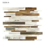 Плитка мозаики деревянного типа влияния линейная покрашенная стеклянная для кухни