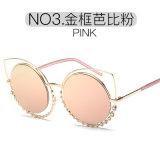 Ronda de moda Diamond óculos de sol óculos de metal do Olho de Gato Mulheres