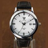 Relógio de quartzo da cinta de couro do relógio do negócio do calendário de H298 Yazole para homens