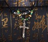De etnische Juwelen van de Tand van de Stam van de Parels van de Kabel van de Tegenhanger van Inri van de Cross Men's Halsband van het Leer van Jesus Met de hand gemaakte Gevlechte Mannelijke