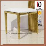 Верхнего сегмента белой кожи золота рамки стул нержавеющей стали задней части высоко