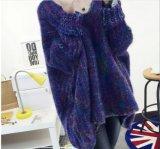 Do casaco colorido da luva do bastão das mulheres do inverno camisolas longas frouxas (BTQ209)