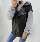 High Quality PVC Leather Outdoor Jacket Ladies Coat