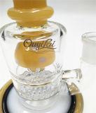 Tubo de água vidro amarelo do tubo de tabagismo de vidro com Design Percolator