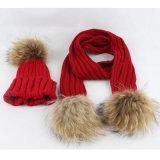 Fur POM Poms Knitted Collar Scarf를 가진 싼 Scarves