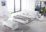 Кровать модульной кровати Chesterfield установленная кожаный мягкая двойная