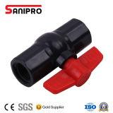 Válvula doble de la maneta roja y sola plástica de la unión del PVC