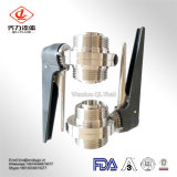 Medidas sanitárias Grau Alimentício SS304 SS316L DIN/SMS/3A/Rjt Macho/com rosca padrão da válvula de borboleta