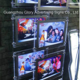 Casella chiara di cristallo del blocco per grafici della foto del LED che fa pubblicità alla casella chiara
