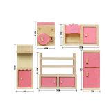 Mobilia del Dollhouse impostata compreso la cucina della camera da letto della stanza del capretto della stanza da bagno per il Dollhouse