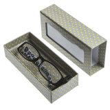 2017 caja original y modificada para requisitos particulares del rectángulo de papel de vidrios de las gafas de sol de Eyewear del diseño con la ventana transparente del PVC