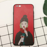 Weiches TPU chinesisches rotes Telefon Case&#160 des Form-Art-Mädchen-Muster-; iPhone 6/6s/7/7plus