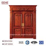 二重葉の正面玄関の振動木ドア