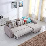 El sofá en forma de L de la tela con almacenaje y saca la base