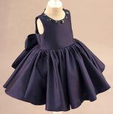 Purpurartiges Blau-Satin-Kristallblumen-Mädchen-Kleider