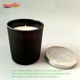 Preto de porcelana titular de vidro impresso Personalizado Vela de cera de Soja