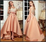 Hi-Low Noite Robes vestido Sleevless Lace Suite efectuadas pela parte vencedora Prom Dress E118