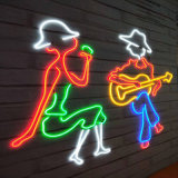 Indicatore luminoso al neon della corda della flessione 220V LED del Rainbow LED di RGB del neon 5050 del cavo approvato Ce commerciale Strip120LEDs LED della fune metallica del segno al neon del LED