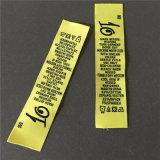 Custom 75D de alta densidad 2,5*10,8 cm de letras negras Wash Care Etiquetas Etiquetas tejidas