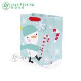 Более низкой цене из переработанных Custom печать подарочный бумажный мешок, рождественские сувениры бумаги