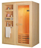 Cabine de sauna traditionnelle en bois avec lecteur CD