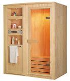 Cabina de sauna tradicional de madera con reproductor de CD