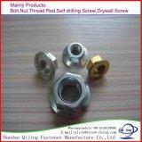 Noix Hex galvanisée DIN6923 de bride de jaune d'acier du carbone