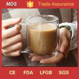 붕규산염 명확한 Pyrex 두 배 벽 유리제 커피 잔