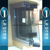 Дверь деревянного зерна алюминиевая с декоративными стеклами Двойн-Слоя