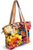 Pele genuína de bolsas de mulheres/ Flor de impressão brilhante Lady Tote (JT10006)