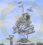 Tubi di acqua di fumo dell'uovo delle terze generazioni del cranio di Handblown Pyrex del riciclatore delle collezioni di colore rosa dell'impianto offshore di vetro viola alto favoloso della LIMANDA per tabacco