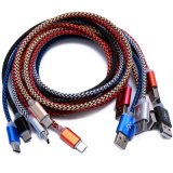 Tipo cabo do USB do escudo da Al-Liga de C com trança de nylon