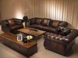 Muebles de cuero de lujo del sofá del cuero de Chesterfield de la alta calidad del color marrón