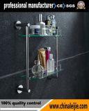 ホテルのための壁に取り付けられた優雅な二重層のガラス棚の浴室のアクセサリ