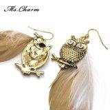 De Lange Oorringen van de Veer van de Uil van de gouden-Kleur van stijlen voor de Juwelen van de Manier van Vrouwen