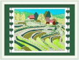 Arte moderna de DIY, pintura da arte de pano, frame da tela dos retalhos