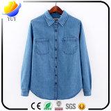 Overhemd van de Cowboy van de Overhemden van de Dames van de knoop het lang-Sleeved Blauwe