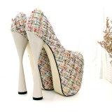 Form-Frauen-Kleid-Schuh-Dame-Pumpen-klumpige Ferse
