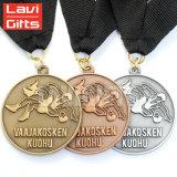リボンが付いている安い昇進のカスタム銀製のフットボール賞メダル円形浮彫り