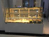 Gabinete de indicador Refrigerated vidro do bolo da curva da bancada