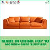 Jogo de couro alaranjado do sofá de Chesterfield da mobília moderna