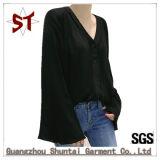 卸し売り簡単な女性安いV首のスピーカーはTシャツにスリーブを付ける