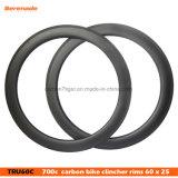 700c углеродного волокна 25мм ширина обода углерода 60мм бескамерные Clincher дисковый тормоз обода велосипеда дорожного движения