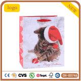 Bolsa de papel linda del gato de la Navidad pequeña