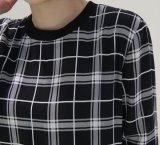 Custom occasionnel taille robe col rond Plaid