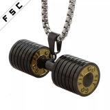 De gepersonaliseerde Halsband van de Sporten van de Tegenhangers van de Domoor van de Juwelen van Barbell van de Fitness Lange